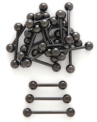 "14g 3/8"" 1/2"" 5/8"" 3/4""  Black Anodized Titanium Tongue Barbell Nipple Ring"