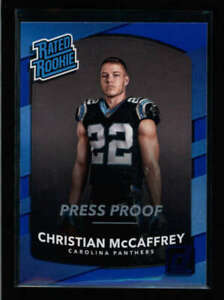 CHRISTIAN-MCCAFFREY-2017-DONRUSS-318-RATED-ROOKIE-BLUE-PRESS-PROOF-RC-AY4275