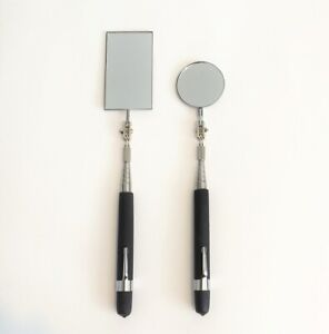 2pcs Telescopic Inspection Rectangular Amp Round Mirror With