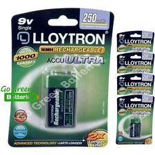 5 x Lloytron 9V PP3 Rechargeable Battery 250 mAh 6LR61