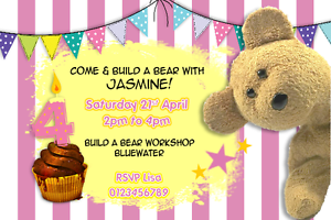 Details About Children Personalised Teddy Bear Build A Bear Birthday Party Invitations X 10