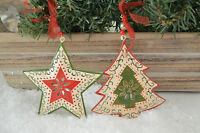 Gisela Graham Green/Red Tin Painted Tree/ Star Christmas Decoration (set of 2)