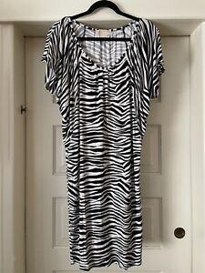 Michael Kors Zebra Print Dress  Black White Stretchy Short Sleeve Cap Medium