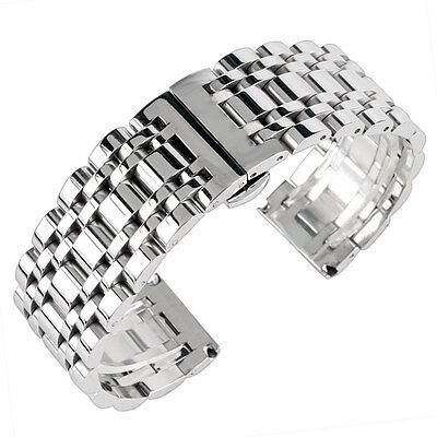 20/22/24mm Silver Women Mens Watch Band Wrist Strap HQ Stainless Steel Bracelet