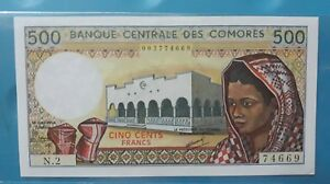 1984-Comoros-500-Francs-GEM-UNC-lt-P-10b-gt
