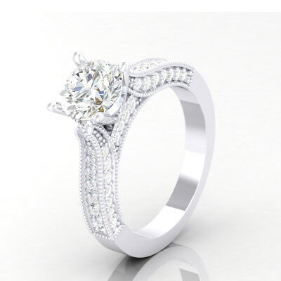 1 CT Solitaire Wedding Anniversary Diamond Engagement Ring White Gold Finish