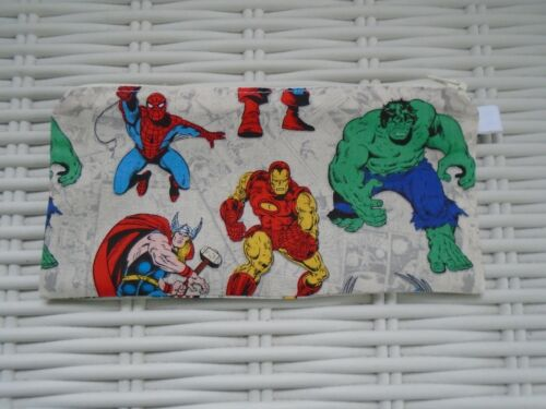 DOUBLE SIDED MARVEL FABRIC PENCIL CASE SUPER HEROES HULK SPIDERMAN PENCILS CASES