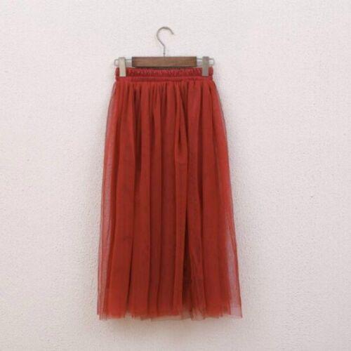 Women Mesh Skirt Tutu Tulle Sheer Gauze Bohemian Midi Pleated Elastic 3 Layers