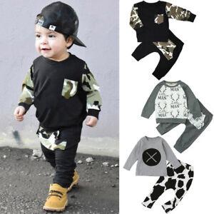 9ffeef7e5 2PCS Toddler Baby Kids Boy T-shirt Tops+Long Pants Casual Outfits ...