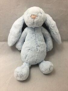 JellyCat Baby Bashful Blue Bunny Rabbit Rattle Plush Toy Soft Floppy Ears