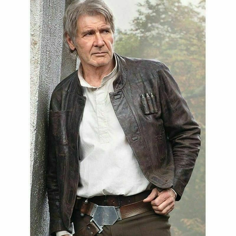 Star Wars Harrison Ford Han Solo the Force Awakens Distressed Leather Jacket