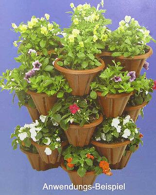 Blumentopf Kunststoff für bis zu 4 Pflanzen, Blumen Topf Kübel Kasten, stapelbar