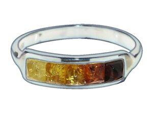 Anillo-925-plata-esterlina-genuino-del-Baltico-Ambar-Multicolores