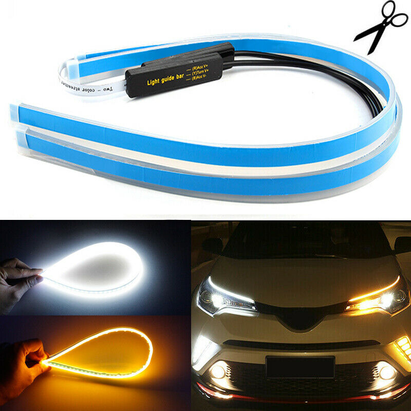 2 x 60CM Slim Amber Sequential Flexible LED DRL Turn Signal