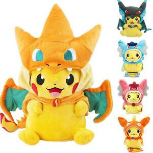 Pokemon-Pikachu-With-X-Charizard-hat-Plush-Soft-Toy-Stuffed-Animal-Doll-9-039-039-Gift
