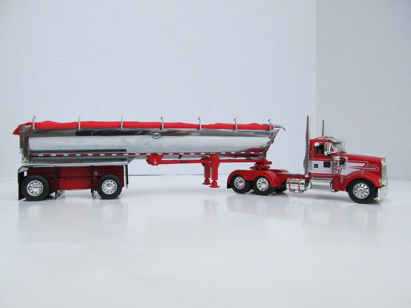 DCP 1/64 SCALE  W-900 KENWORTH DAY CAB rosso W/bianca  STRIPE WITH MAC ROUND BOTTOM