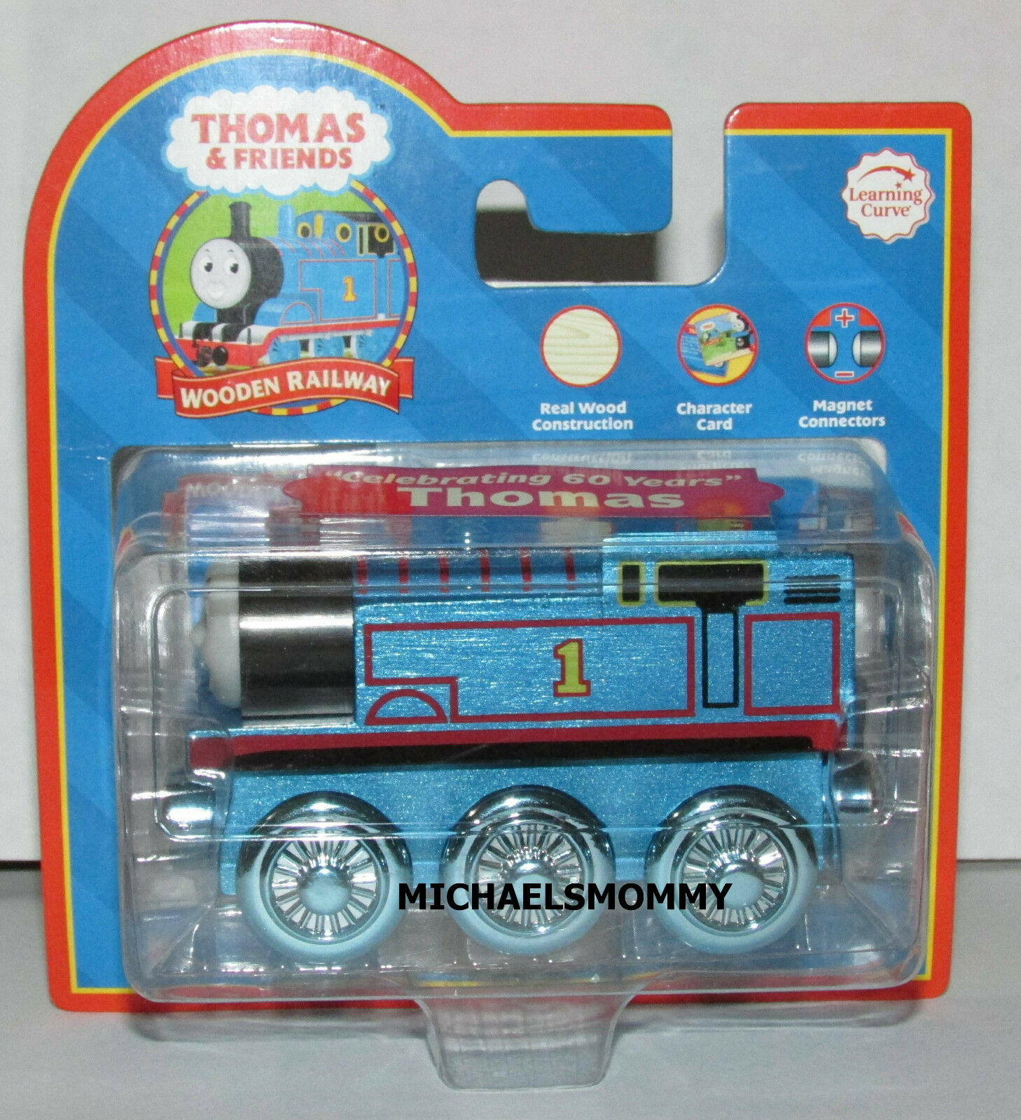 THOMAS THE TANK TRAIN - CELEBRATING 60 YEARS THOMAS blueE  W COLLECTOR CARD  NIB