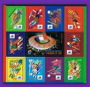 1998-FRANCE-BLOC-N-19-COUPE-DU-MONDE-FOOTBALL-LUXE-NEUF-SHEET