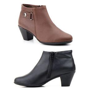 Botines-de-Piel-Mujer-Negro-Marron-Talla-36-37-38-39-40-41-Fabricado-en-Espana