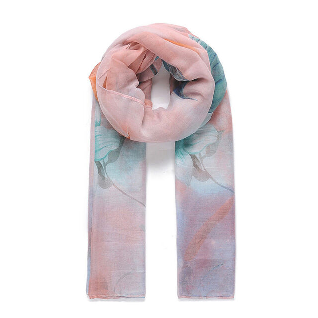 NEW Spring/Summer Women's Grey & Multi Coloured Flamingo Lily Print Scarf-CS98