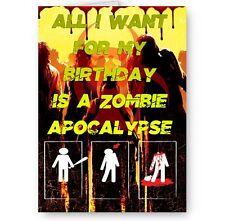 Zombie Apocalypse A5 Happy Birthday Card With Yellow Envelope