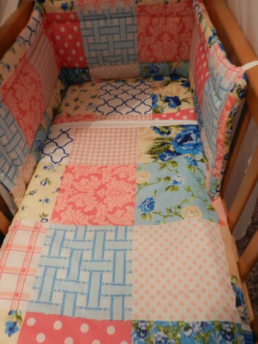 SPACESAVER,CRIB  COT OR COTBED BUMPER  SET BOYS OR GIRLS NEW  PATCHWORK
