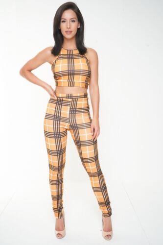Femmes Dos-nu Crop Top Pantalon Slim Co-Ord Set vérifié Noeud Dos Soirée