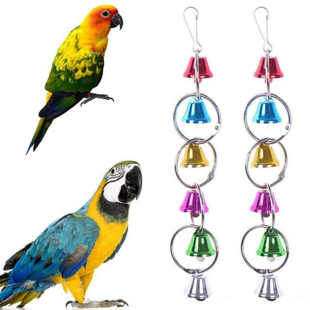 Pet Bird Toys Metal Ring Bell Hanging Cage For Parrot Squirrel Parakeet us chic_
