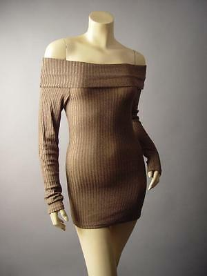 Marled Gray Ribbed Off Shoulder Foldover Shawl Neck Top 204 mv Sweater S M L XL