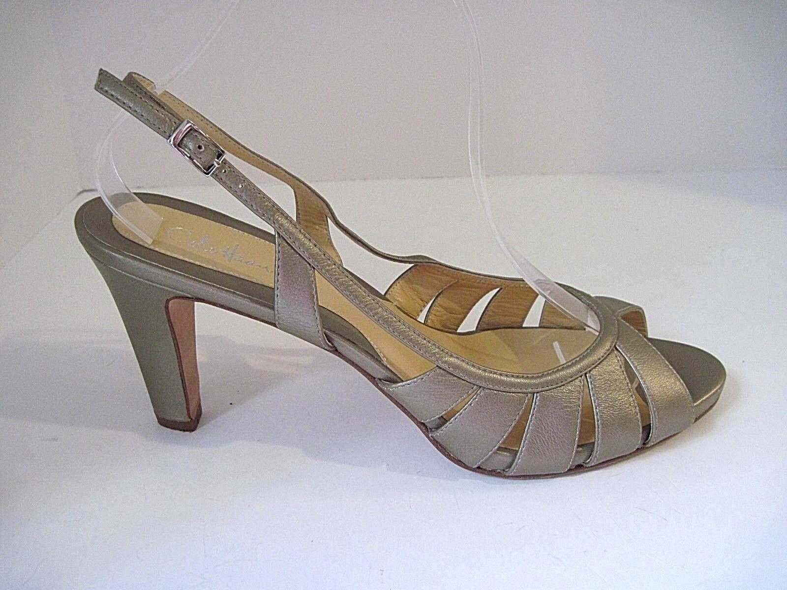 Cole Haan Champagne Gold Leather Peep Toe Toe Toe Sling Back Heels Größe 10B 8186ea