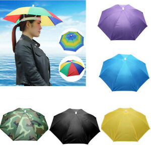 e1f4144b3 Details about Sun Umbrella Hat Outdoor Hot Foldable Golf Fishing Camping  Headwear Head Cap HL