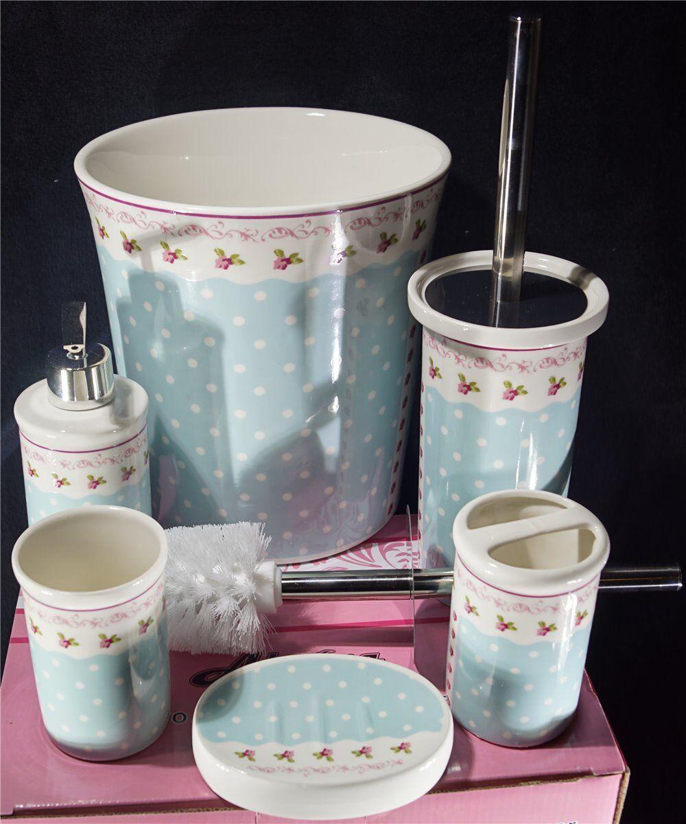 Vintage Porzellan 6 tlg. Badezimmer Set Bad Accessoire Set Set Set ...
