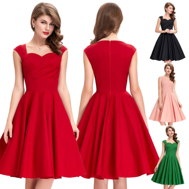 Women 50s 60s Prom Bridesmaid Cocktail Party Ball Gown Evening Housewife Dresses
