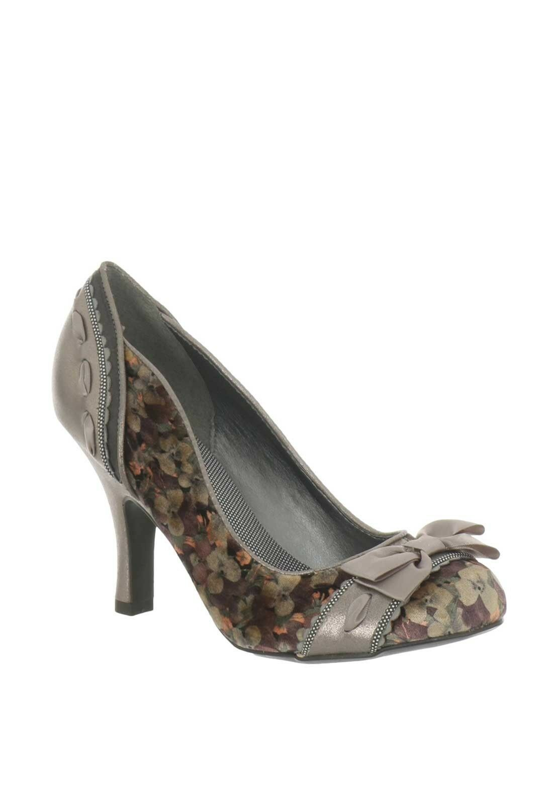 Ruby Shoo Amy Velvet Heeled Schuhes Pewter New In
