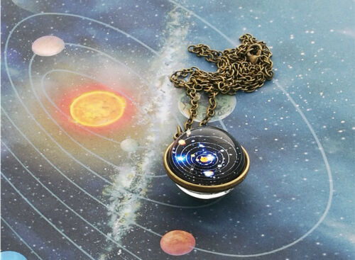 Double Sided Glass-Dome Planet Necklace,Galaxy S Solar System Necklace Pendant