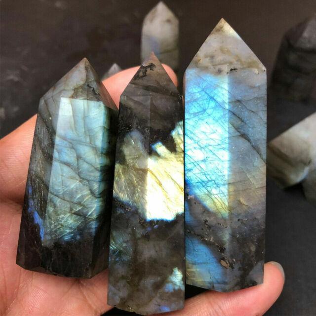 Natural Labradorite Moonstone Quartz Crystal Stone Point Heal Hexagonal WanWTUS