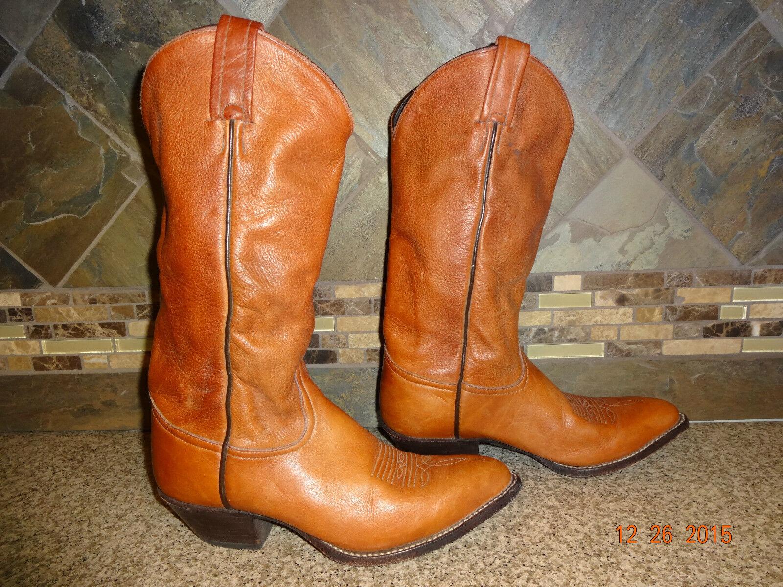 Para Mujer Tony Lama l M marrón cuero botas De Vaquero