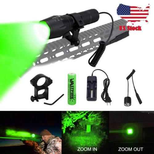 350 Yards Green LED Zoom Hunting Flashlight For Coyote Hog Fox Predator Varmint