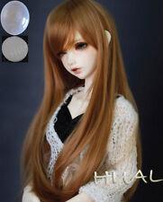 "7-8"" 1/4 BJD Golden Brown Long Wig LUTS Doll SD DZ DOD MSD Dollfie Hair +Cap #AL"