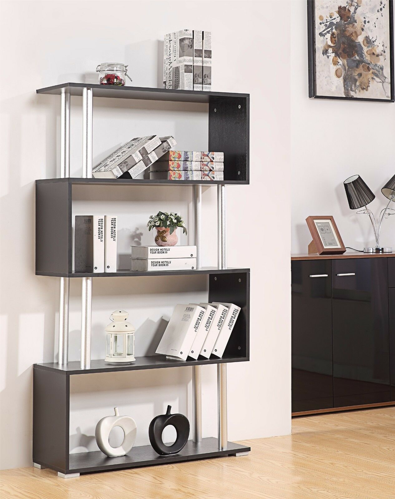 Ossotto Xl S Shape Storage Unit Bookshelf Bookcase Home Or Office Furniture
