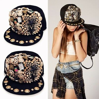 NWT Custom Embellished Studded Hat Cap with Jewels Gold