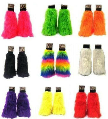 Neon UV Fluffy Legwarmers Club Costume Halloween Christmas