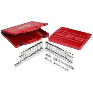 Milwaukee 56-Piece 3/8 in. Ratchet and Socket Set MLW48-22-9008 Brand New!