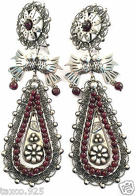 FRIDA KAHLO DESIGN TAXCO MEXICAN STERLING SILVER FILIGREE BEAD EARRINGS MEXICO