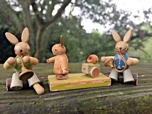 Vintage-SET-LOT-of-3-WOODEN-Rabbit-Bunny-Chick-Figurines-UNIQUE-ONE-OF-KIND-j8