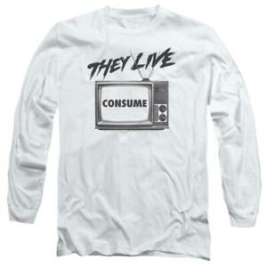 They-Live-T-shirt-retro-1980-039-s-horror-movie-long-sleeve-graphic-tee-UNI609