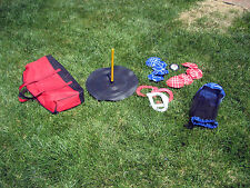 Slightly Used Kids horseshoes, bag toss, score marker, 2 carry bags w/warranty