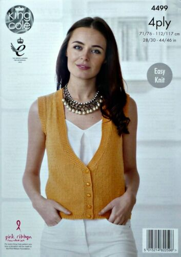 KNITTING PATTERN Ladies Easy Knit V-Neck Waistcoat /& Cardigan Cotton 4ply 4499