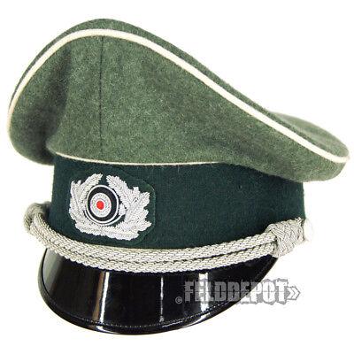 58 WH German Heer Offizier Schirmmütze Panzer WH Visor Hat Gr