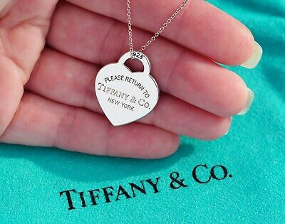 Tiffany Co Return To Tiffany Sterling Silver Medium Heart Tag Pendant Necklace Ebay